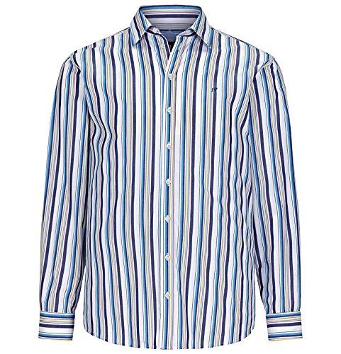 Jan Vanderstorm Herren Langarm Streifen-Hemd Sieghelm Farbe Blau-Weiß-Gestreift Größe 43/44 (XL)