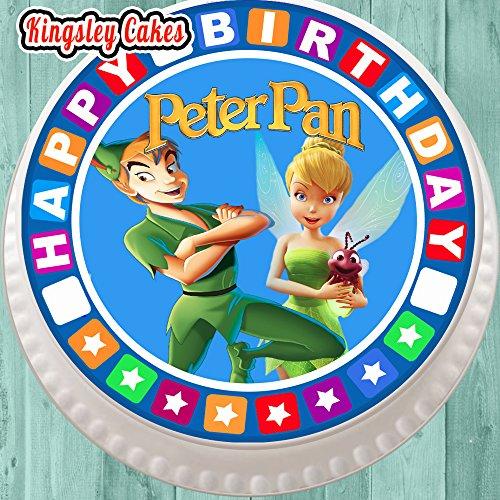 Topper per torta pretagliato commestibile glassa grande-19,1cm rotondo con bordo di compleanno, Peter