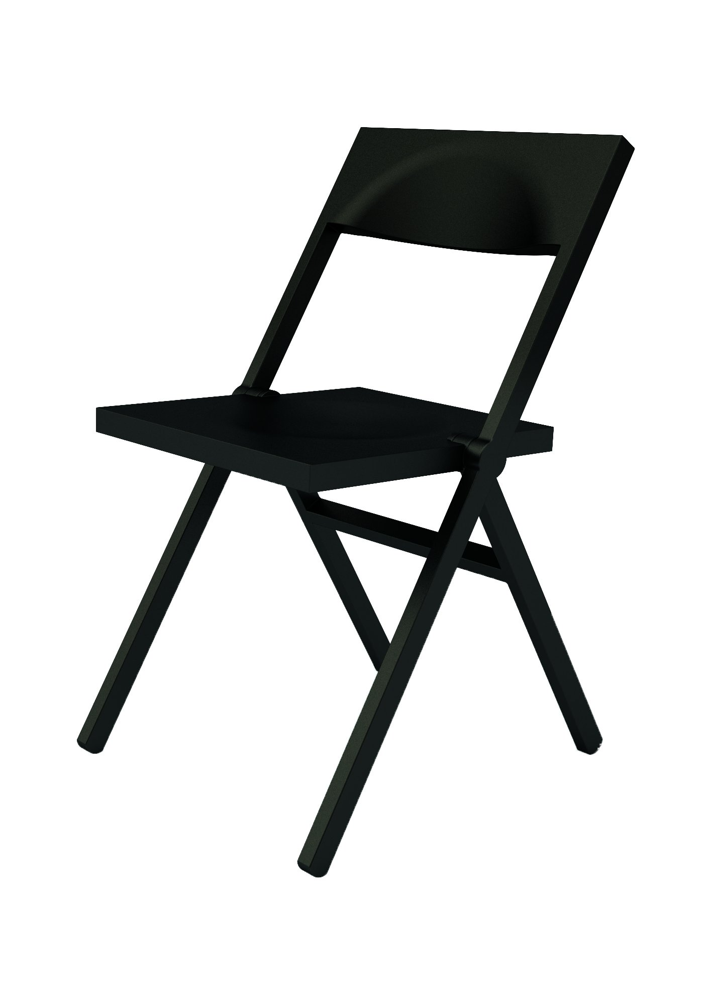 Alessi Folding and Stackable Chair in PP and Fiberglass, Black, 52 x 46 x 90 cm