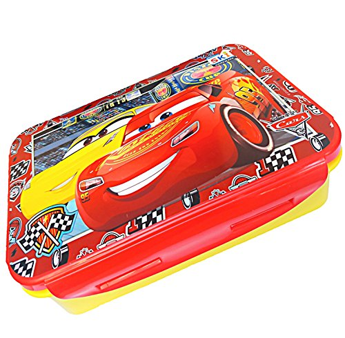 PP Disney Kids Pixcer Car Printed 550 ml Lock N Fit Lunch Box with Small Curry Container Fork and Spoon for Kids Boys and Girls ( Colours and Prints May Be Vary)