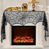 Royaliya Halloween Deko Tisch Tischdecke Türvorhang Spinnennetz Vorhang für Halloween Kamin Tür Tisch Fenster (290x48CM)