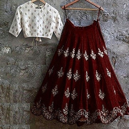 BRIDES and BEAUTY woman's WEDDING (semi stitched_free size) MAROON lehenga choli with...