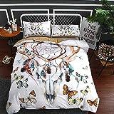 BEDSETAAA Bettwäsche Artikel Vier Stück Anzug Polyester Baumwolle 3D Digitaldruck Bettbezug Blatt Kissenbezug Dreamnet Serie 135x200cm weißer Elch
