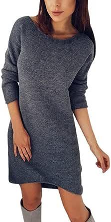Pullover Kleid Damen Gjkk Mode Damen Frauen Solide O Ausschnitt Pullover Lässige Elegant Langarm Pullikleid Longshirt Kurz Minikleid Pullover Kleid Bekleidung