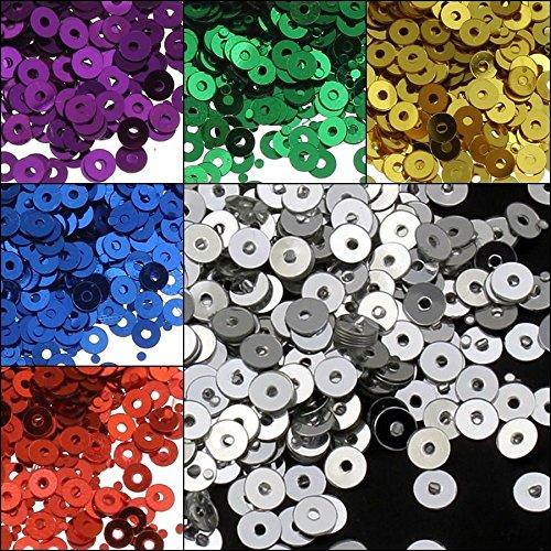 Perlin - 26400 Stk. Pailletten Ø 3mm 11 Farben Set Glatt Rund Perlen für DIY Kleidung und Schmuck , Handwerk Metallic Basteln Sequin Bombe (Halskette Metallic-perle)