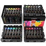 ARTEZA Acrylfarben – Hochwertige Acryl Künstlerfarbe für Leinwand - Malfarben Set mit 24x22 Ml Farben in Tuben