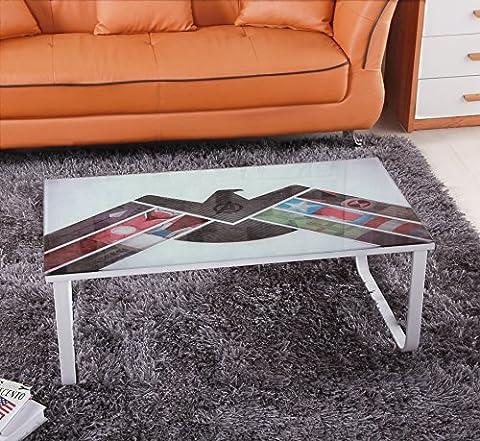 Ospi coloré Photo Table basse en verre trempé avec revêtement en poudre inoxydable Rack