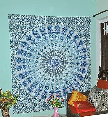 Exklusives Türkis Blaues indisches Wand-Dekor Hippie-Tapisserien böhmisches Mandala-Tapisserie-Wand-hängender Wurf