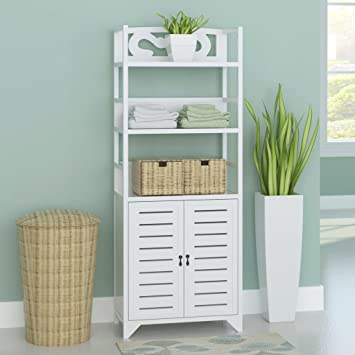 Anself Free Standing Bathroom Cabinet Wooden Tall Cupboard White