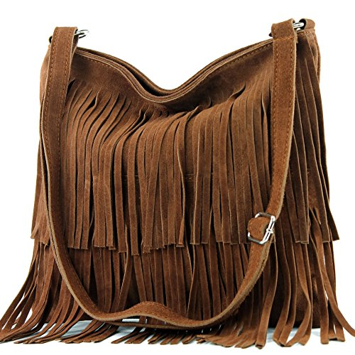 Ital. Bolso de cuero T125 Frans bolso del bolso de las señoras bolsa de gamuza, Präzise Farbe (nur Farbe):Dunkelcamel