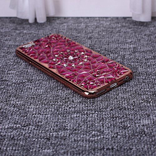 ekinhui Schutzhülle New Sun Blumen Colorful Diamond mit Strass Design TPU Soft Case Cover [Rotgold beschichtetem Rahmen] für iPhone SE 5S 6S Plus, plastik, gold, IPhone 6S Plus violett