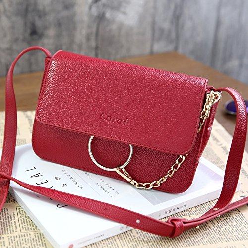 HQYSS Damen-handtaschen Einfache wilde Frauen PU-lederne Kettenschulter-Kurier-Beutel-feste farbige geprägte Crossbody Tasche wine red