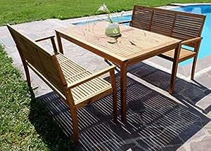 Edle Gartengarnitur Gartenset Gartenmöbel Garten Sitzgruppe SARIA-2 mit 2 3er-Bänken und einem Tisch Holz Akazie wie Teak von AS-S