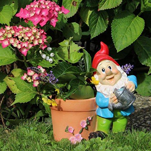 Gartenzwerg mit Pflanztopf 21cm Gartendeko Statue Zwerg Figur - 5