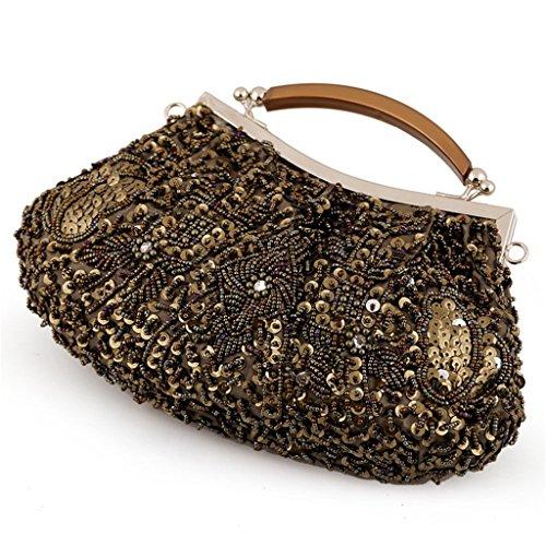 ERGEOB Damen Clutch Handgemacht Perlen Abendtasche für Event Hochzeit Theater alle Party Grau Schwarz