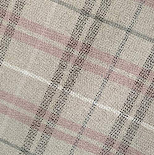 Fire Retardant Check Upholstery Fabric Patterned Material for Furnishing Chairs Cars Covers (Pink)