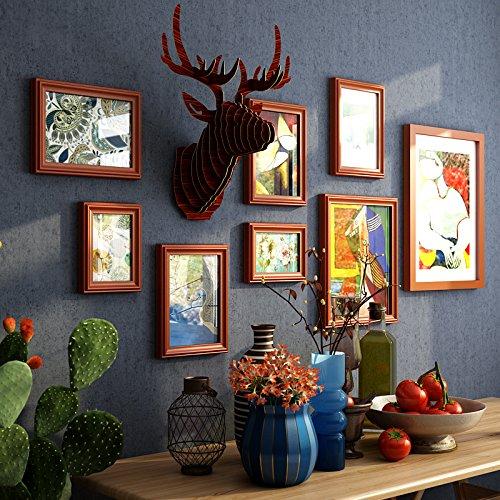 HJKY Photo Frame Wall Set Sog wie Industrial Air continental Holzrahmen Kombination aus Wand retro Wohnzimmer gerahmte Foto frame Wand der Mauer rund um die hu-farbigen Box + hinaus blau Gummi