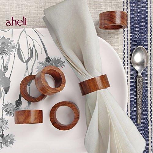 Aheli Table dîner Décoration faite à la main fête Decor Lot de 6ronds de serviette en bois pour une utilisation quotidienne dîners Parties-diameter 4,4cm