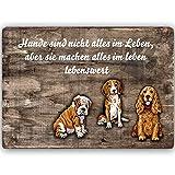Feeby Metallbild Hunde Bild Kunstdrucke Poster Hunderassen Spruch Zitat Braun 70x50 cm