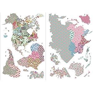 Fine Décor Wallpops wpk2128«boho» mapa del mundo de vinilo–Multicolor