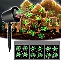 LED projection lamp protection degree ip65 for Christmas decoration outdoor lighting as garden lighting projector, wall decoration, garden decor, party light, christmas Great Gifts (rotes & grünes Schneemuster)