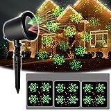 Proiettore Luce natalizia LED Rosso e verde Modello di neve Lampada Ambient Stage Lighting Illuminazione esterna Fiocco di neve Impermeabile per la decorazione di Natale Garden Lawn Party