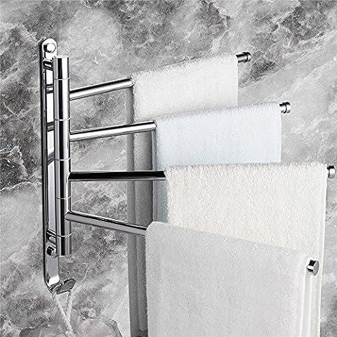 Weare Home Barre porte-serviette Pivotante 4 Barres Support Serviette Laiton