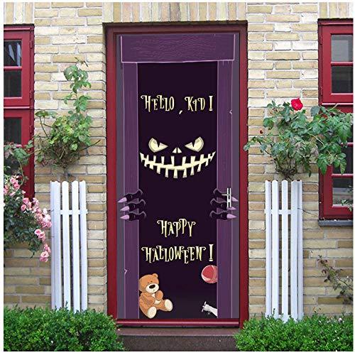 Halloween Monster 3D Creative Door Sticker Personality Bedroom Door Renovation Decal Removable Door Decorations Wallpapers Mural