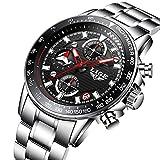 Uhr,Herrenuhren,Luxus echtes Leder Band LED Analog Digital Japanisch Quarz-Armbanduhr,Zwei Zeitzonen zeigen Multifunktions-Sport-Mode-Uhren für Männer an (redblack)