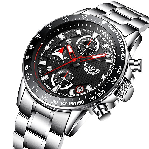 Uhr,Herrenuhren,Luxus-Edelstahl-Analog-Quarz-Armbanduhr,Business-Kleid Casual Design Multifunktions-wasserdichte Uhr für Männer