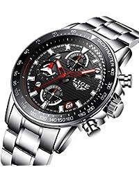 Reloj de hombre, relojes, vestido de lujo acero inoxidable reloj de pulsera, analógico cuarzo, business casual diseño multifunción resistente al agua reloj para hombre