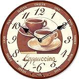 Tinas Collection - Reloj de pared (30 cm de diámetro), diseño retro de dos tazas de café con texto 'Cappucino'