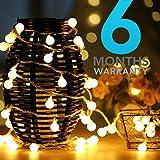EXTRA LONG Warranty Premium LED Globe String Lights, Ball 40feet Christmas Lights, Indoor / Outdoor Decorative Light, USB Powered, Warm White Light - for Diwali DIY Garden Party Xmas Tree Wedding Decoration (50 feet)
