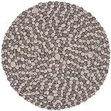 myfelt Hardy II Filzkugelteppich, rund, Schurwolle, grau, Ø 50 cm