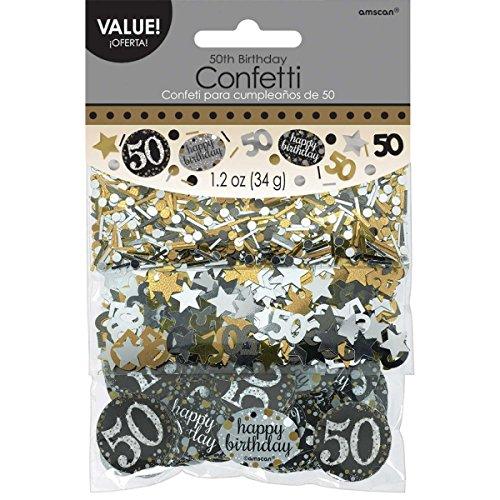 Amscan 3601913 Tüten Konfetti * 50. GEBURTSTAG - SPARKLING * für eine Party mit 34 Gramm Inhalt Gold und Silber (Halloween In Amerika)