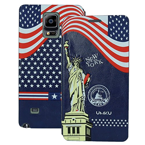Heartly Country Series Printed PU Leather Flip Bumper Case Cover For Samsung Galaxy Note 4 - Navy Blue  available at amazon for Rs.270