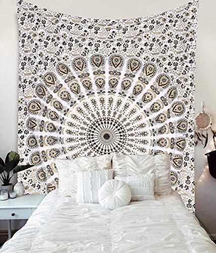 WORLD WIDE KART Wandteppich, Mandala-Motiv, indische Baumwolle, Tagesdecke, Picknick, Decke, Wandkunst, Hippie-Gobelin