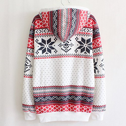 Zhhlinyuan Vêtements populaires Girls Korean Style Snowflake Pattern Hooded Warm National Fleece Sweater Tops white
