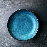 DLewiee Kitchenaid Keramik Servierschale Große Obstsalat Schüssel Geschirr Weiß Müslischüssel Rührschüssel Blau
