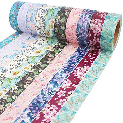 Blumen Muster Washi Tape 10m lang jede Rolle dekorative Masking Tape Japanpapier Bänder Gewebeband für Kunst und Handwerk, DIY-Projekte, Sammelalben, Kalender, Bibel Journaling und Geschenkpapier