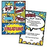 Einladungskarten zum Geburtstag Comic | 10 Stück | Inkl. Druck Ihrer Texte | Kindergeburtstag | Individuelle Einladungen | Einladung | Einladungskarte Jungen & Mädchen