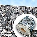 Zaundruck Splittstein - Bedruckter Sichtschutzstreifen für Stabmattenzaun inkls. Klemmschienen PVC frei