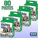 4Stück Fujifilm Instax 20Zählen Wide Format Film (80Fotos) Bundle Kit für Fujifilm Instax 200und 210Kamera