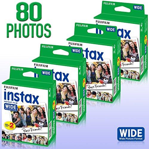 4Stück Fujifilm Instax 20Zählen Wide Format Film (80Fotos) Bundle Kit für Fujifilm Instax 200und 210Kamera (Kamera Polaroid 80 Film)