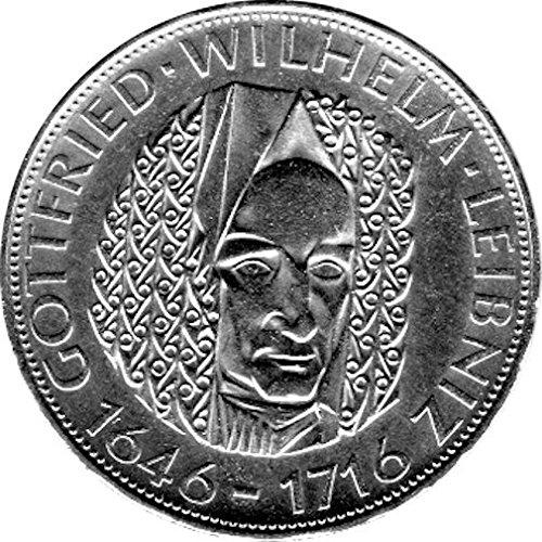 """5 DM Gedenkmünze """"250. Todestag von Gottfried Wilhelm Leibnitz"""" (Jäger: 394) Stempelglanz, Silber"""