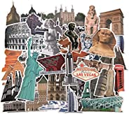 Famous Landmarks and Attractions Stickers, 64 pcs Waterproof Vinyl Sticker Pack for Luggage, Travel Case, Scra