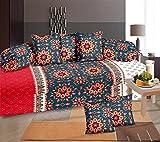 #5: Amayra Home 100% Cotton 120 TC Designer Printed 8Pc Diwan set(1 Single Bedsheet, 2 Bolster Covers, 5 Cushion Covers) (Multi)