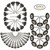 Siming 45PCS ruota spazzola metallica, spazzola in acciaio di lucidatura set per Dremel Rotary Tool Accessories kit