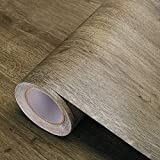 Selbstklebende Folie Holzmaserung Tapete dick PVC selbstklebende Tapete Retro 3d feste Wandaufkleber wasserdichte Kleiderschrank Tisch Möbel (gebrochene Bohnen) 60 x 300 cm
