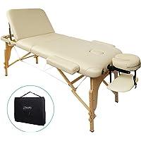 Naipo Table de Massage Lit Pliante 3-Section Professionnel Portable Ergonomique Table Canapé Pieds en Bois pour Thérapie Salon Massage Thaïlandais Suédois – Beige